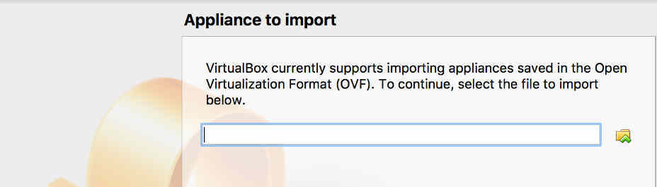 The Appliance To Import dialog